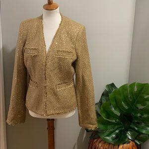 Michael Kors • gold sequin tweed blazer